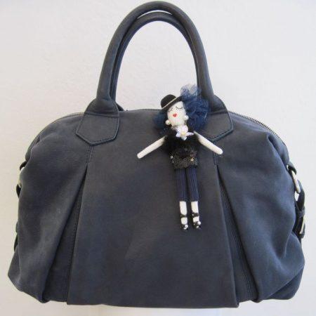 Nappaledertasche blau (ohne Püppchen)